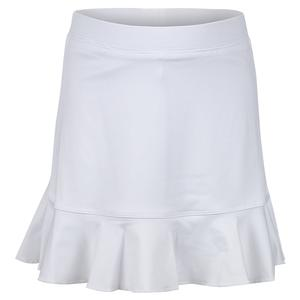 Girls` Single Ruffle Tennis Skort White