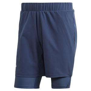 Men`s HEAT.RDY 2in1 7 Inch Tennis Short Tech Indigo and Dash Green