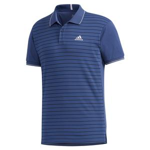 Men`s HEAT.RDY Color Block Striped Tennis Polo Tech Indigo