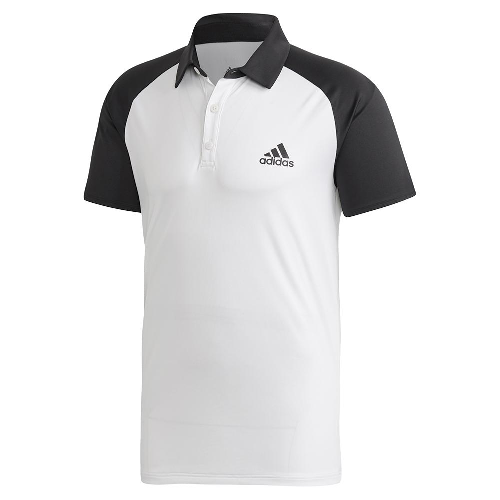 Men's Club Color Block Tennis Polo White And Black