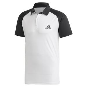Men`s Club Color Block Tennis Polo White and Black