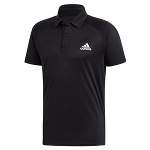 Men`s Club Color Block Tennis Polo Black and White