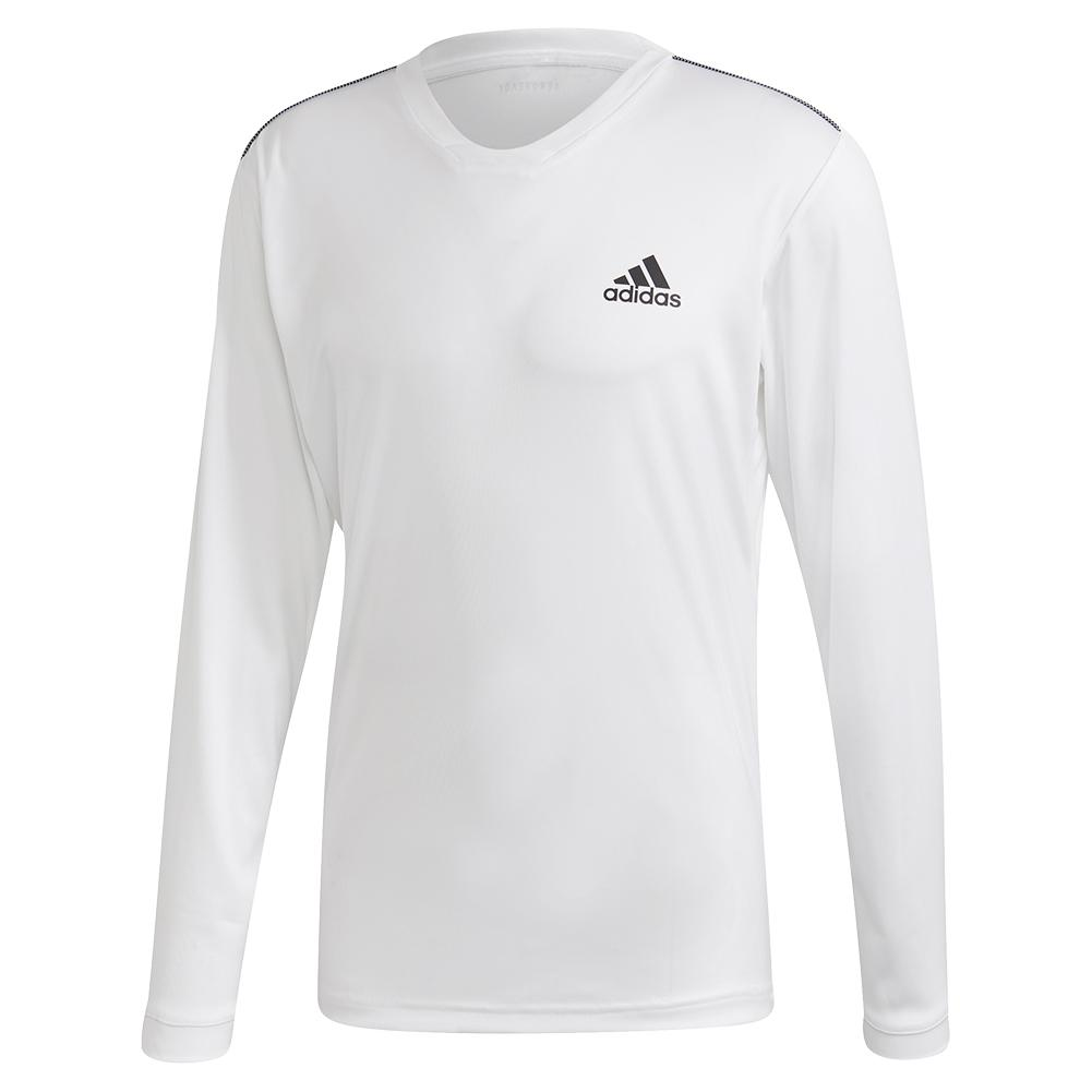 Men's Club Uv Protect Tennis Long Sleeve White And Black
