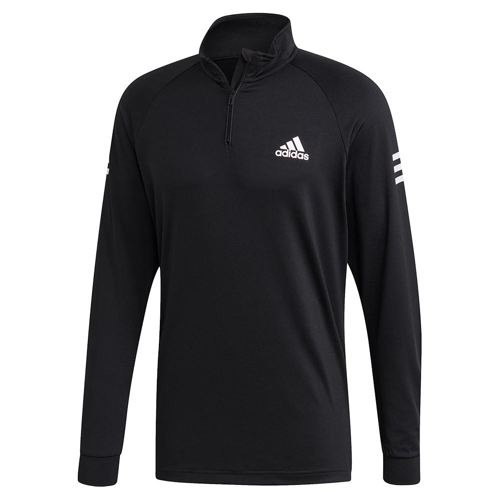 Men's Club Midlayer Tennis Top Black And White