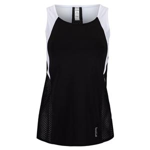 Women`s Brush Strokes Tennis Tank Black and White
