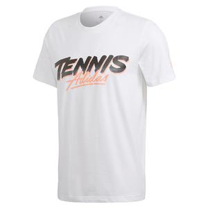 Men`s Club Script Graphic Tennis Tee White