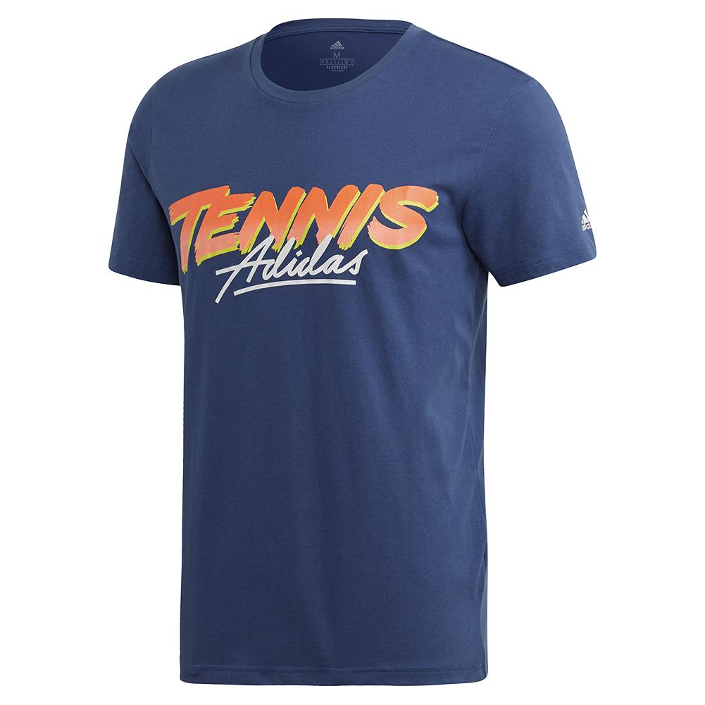 Men's Club Script Graphic Tennis Tee Tech Indigo