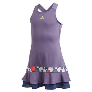 Girls` Frill Tennis Dress Tech Purple and Shock Yellow