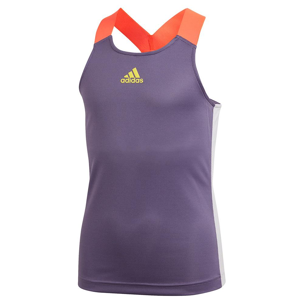 Girls ` Heat.Rdy Y- Back Tennis Tank Tech Purple And Shock Yellow