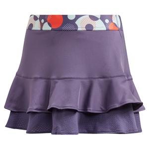 Girls` Frill Tennis Skort Tech Purple and Shock Yellow