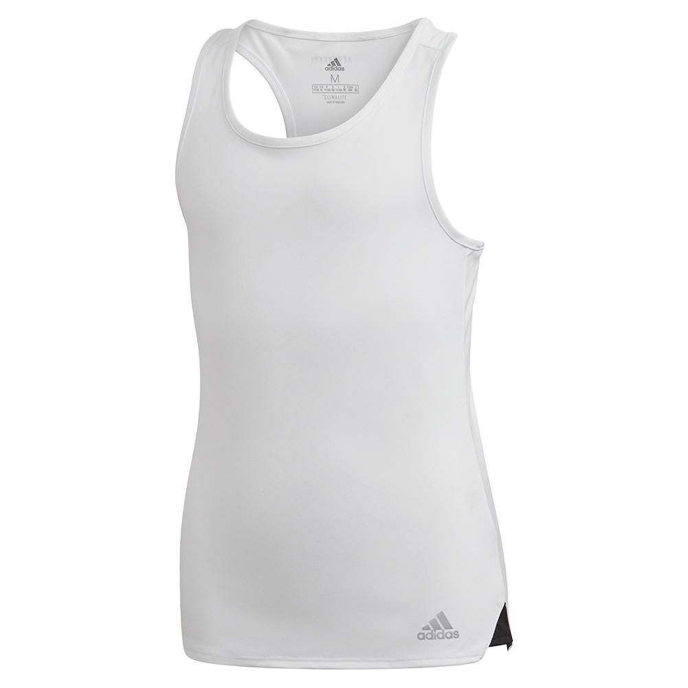 Girls ` Club Tennis Tank White And Matte Silver