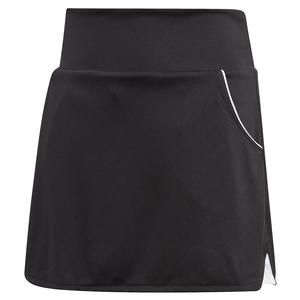 Girls` Club Tennis Skort Black and Matte Silver