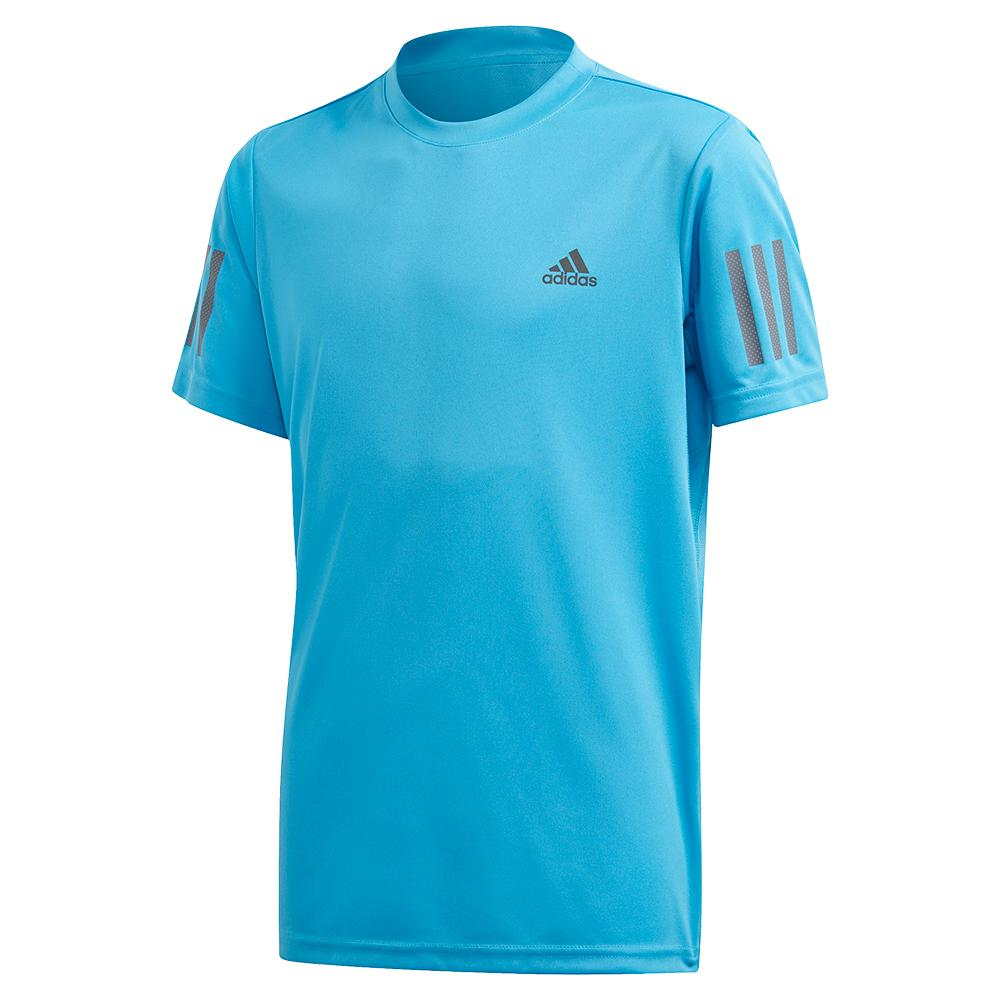 Boys ` Club 3 Stripes Tennis Top Fresh Splash And Grey Six