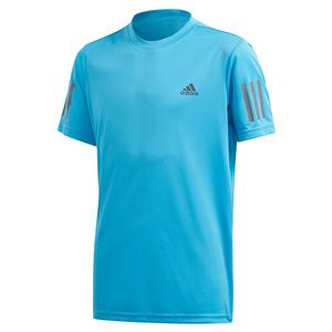Boys` Club 3 Stripes Tennis Top Fresh Splash and Grey Six