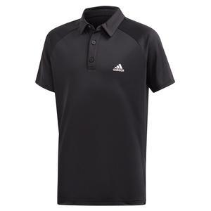 Boys` Club Tennis Polo Black and White
