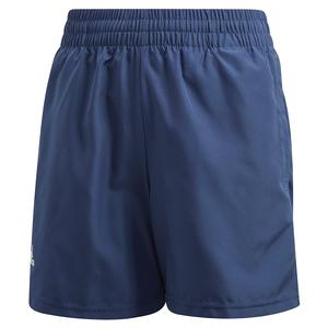 Boys` Club 5 inch Tennis Short Tech Indigo and White