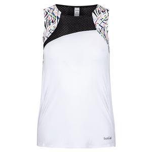 Women`s Brush Strokes Tennis Tank White