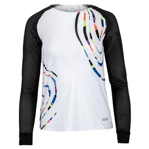 Women`s Brush Strokes Long Sleeve Tennis Top White and Black