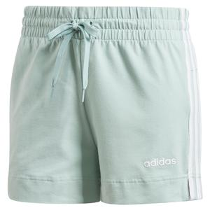 Women`s 3 Stripes Training Short Green Tint and White