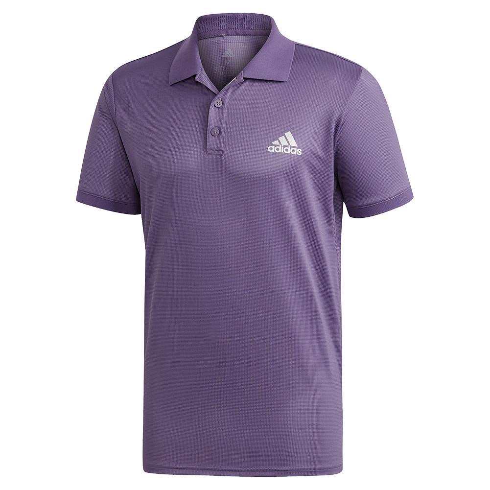 Men's Club Solid Tennis Polo Tech Purple And Matte Silver