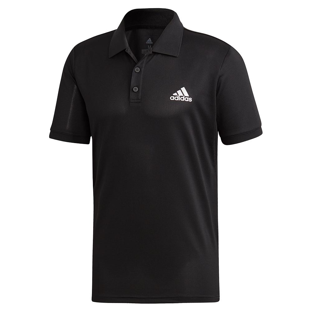 Men's Club Solid Tennis Polo Black And Matte Silver
