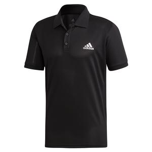 Men`s Club Solid Tennis Polo Black and Matte Silver