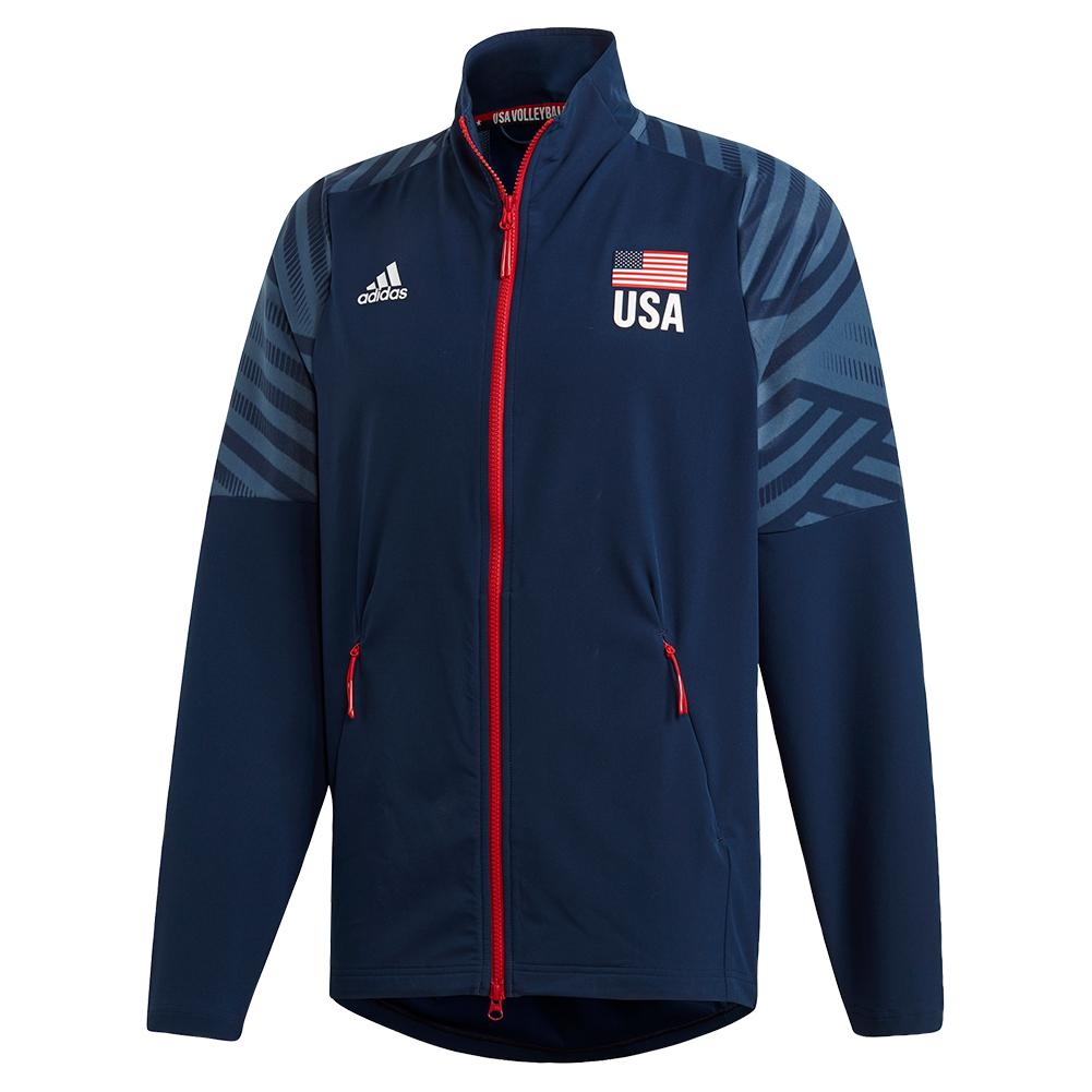Men's Usa Volleyball Warm Up Jacket Collegiate Navy And White