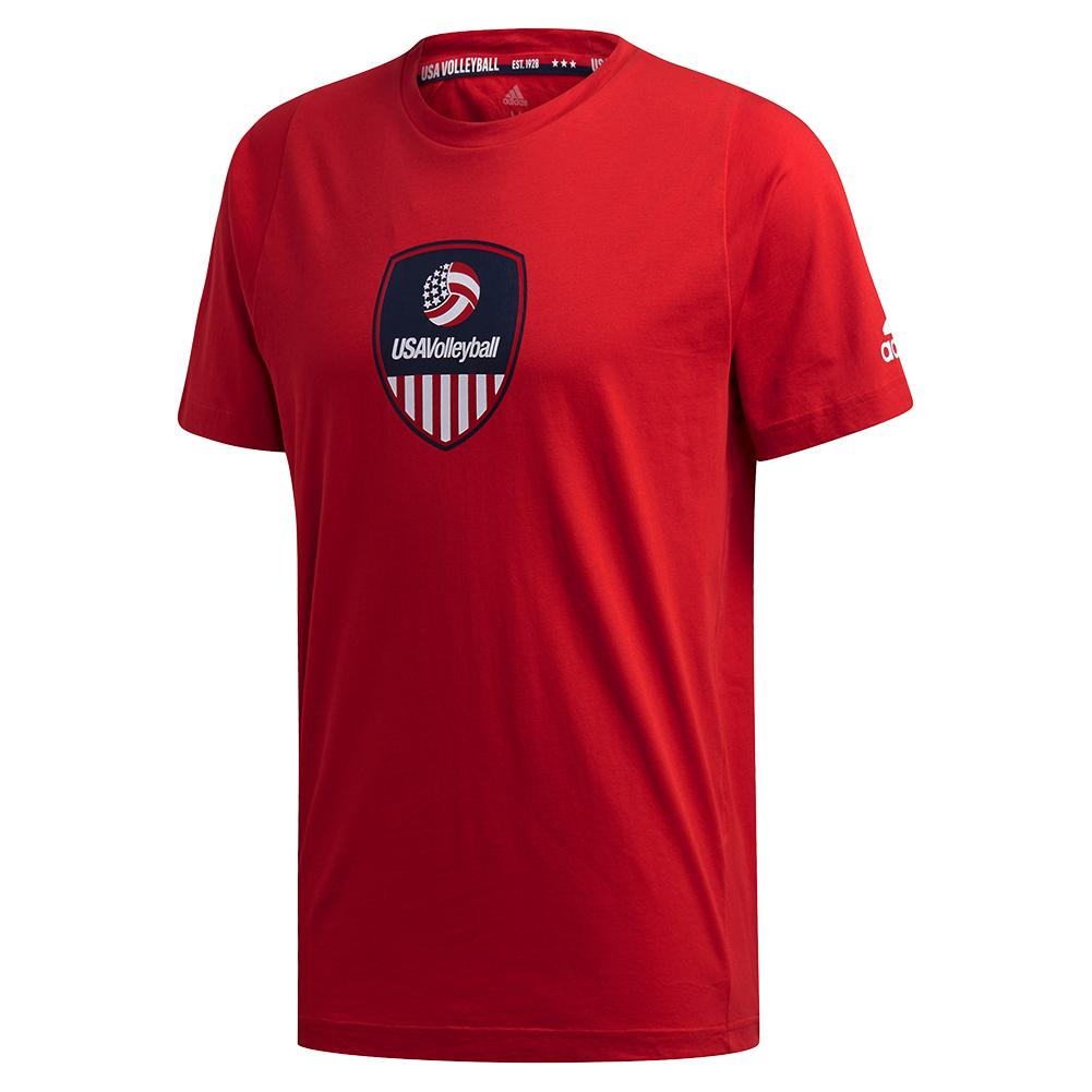 Men's Usa Volleyball Tee Power Red And White