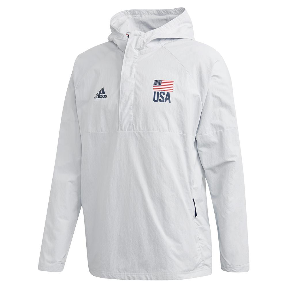 Men's Usa Volleyball Anorak Jacket Clear Grey And Collegiate Navy