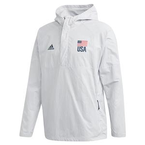 Men`s USA Volleyball Anorak Jacket Clear Grey and Collegiate Navy