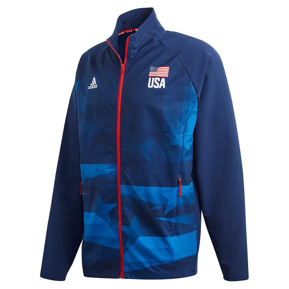 Men's Usa Volleyball Warm Up Jacket Team Navy And Glory Blue