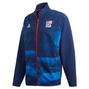 Men`s USA Volleyball Warm Up Jacket Team Navy and Glory Blue