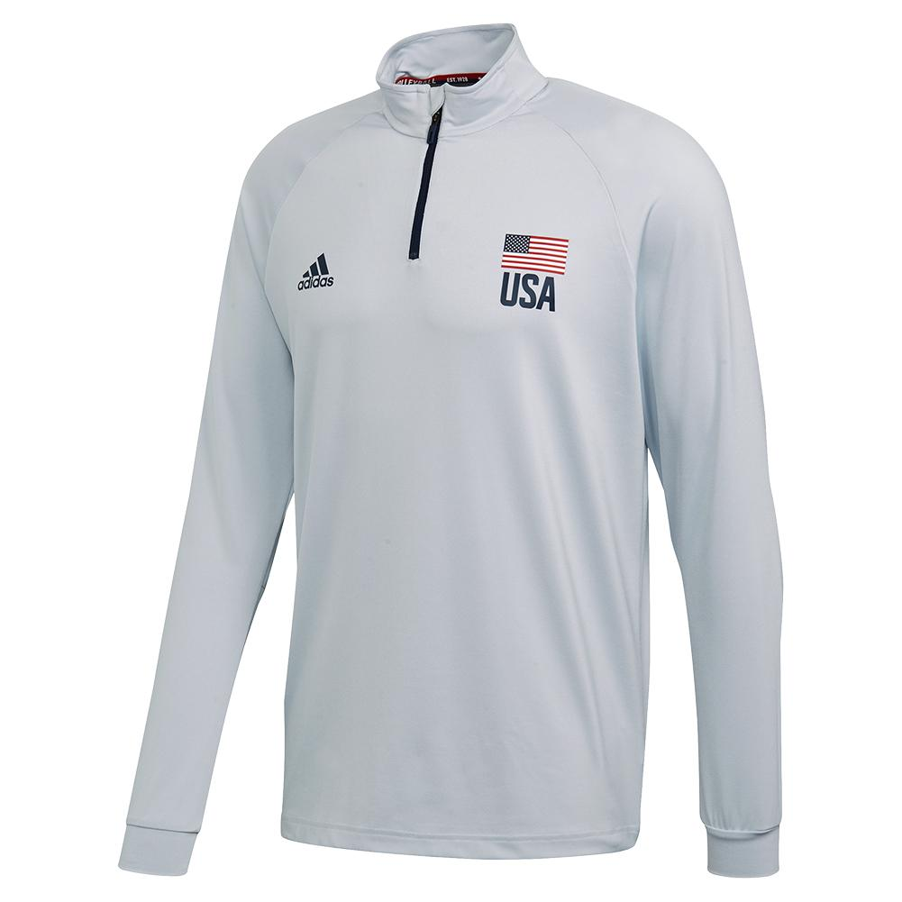 Men's Usa Volleyball 1/4 Zip Clear Grey