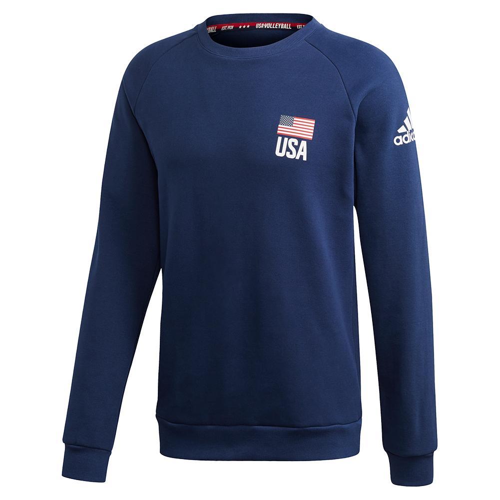 Men's Usa Volleyball Crew Neck Sweatshirt Team Navy Blue