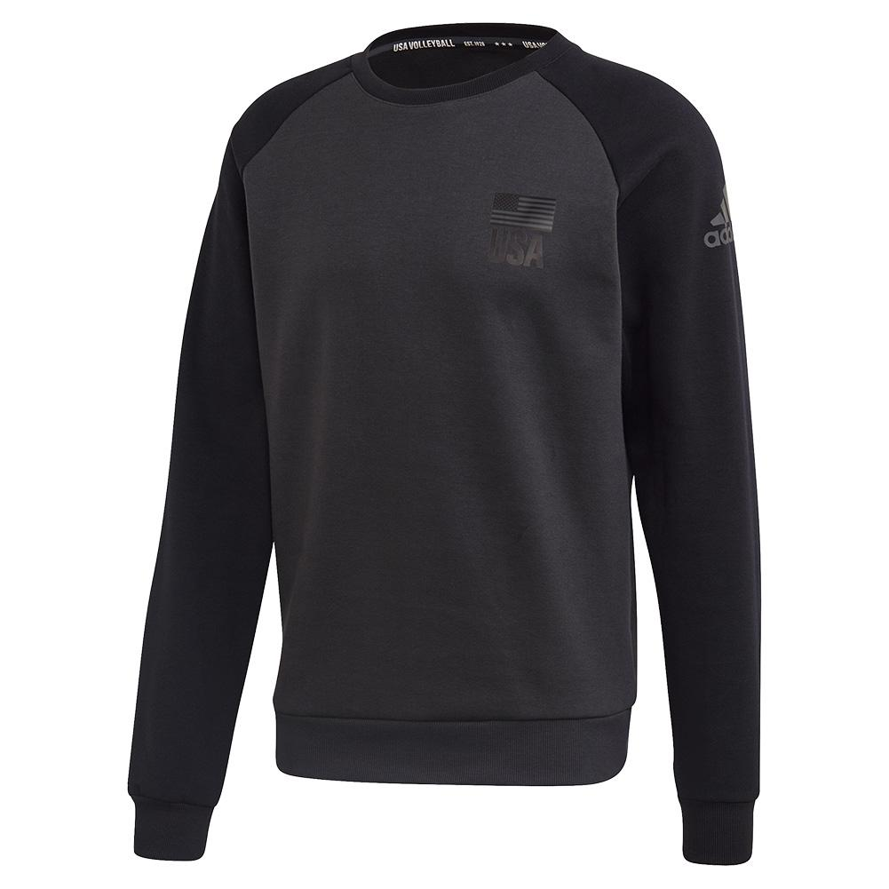 Men's Usa Volleyball Crew Neck Sweatshirt Carbon And Black