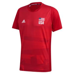Men`s USA Volleyball Primeblue Replica Top Team Power and Vivid Red