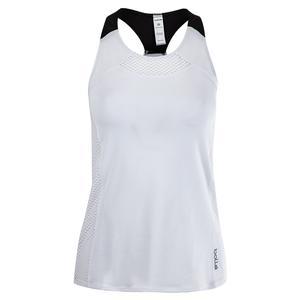Women`s Brush Strokes T-Back Tennis Tank White