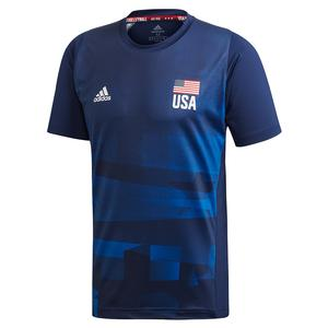 Men`s USA Volleyball Primeblue Replica Top Team Navy and Glory Blue