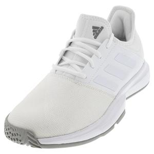 Men`s GameCourt Wide Tennis Shoes White and Dove Gray