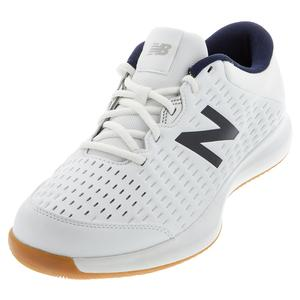 Men`s 696v4 D Width Tennis Shoes White and Navy