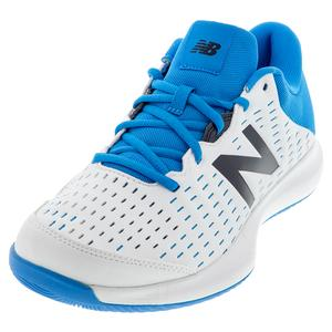 Men`s 696v4 D Width Tennis Shoes White and Blue