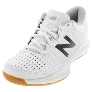 Women`s 696v4 B Width Tennis Shoes White and Navy