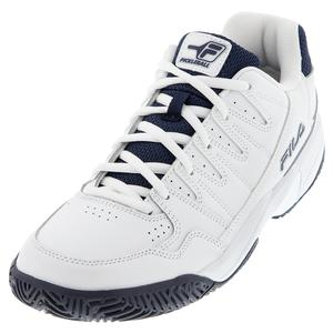 Men`s Double Bounce Pickleball Shoes White and Fila Navy