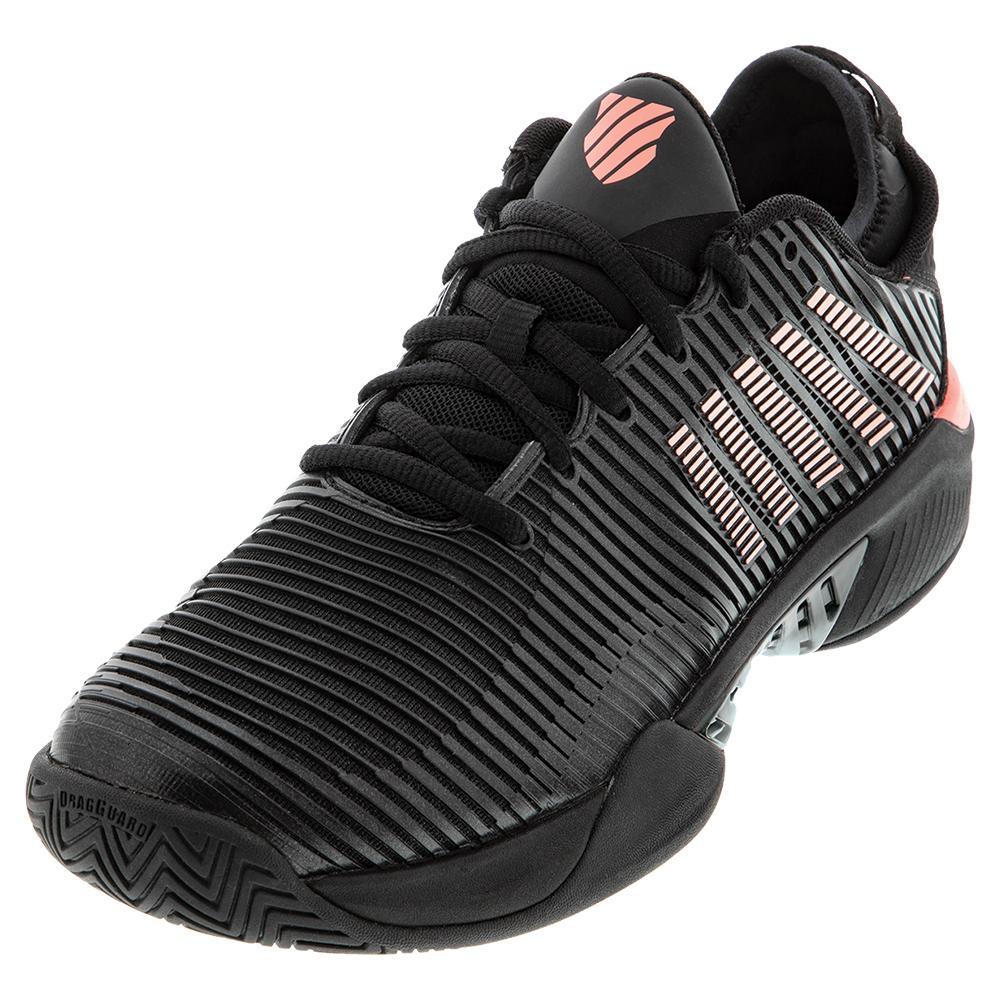 Men's Hypercourt Supreme Tennis Shoes Black And Soft Neon Orange