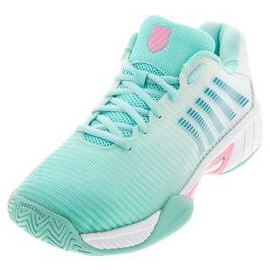 Juniors` Hypercourt Express 2 Tennis Shoes Aruba Blue and White