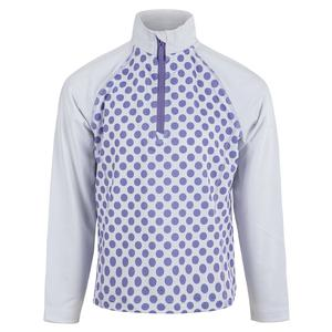 Girls` Long Sleeve Half Zip Tennis Pullover Print