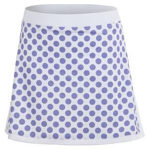 Girls` White Border Tennis Skort Lilac Dot Print