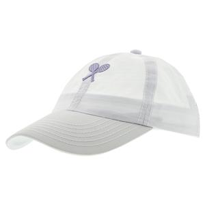 Girls` Tennis Cap White with Lilac Racquets