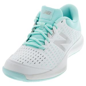 Women`s 696v4 B Width Tennis Shoes White and Bali Blue