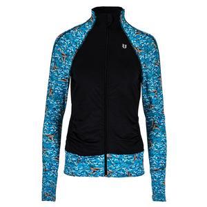Women`s Elite Tennis Jacket Oiseau Print and Black